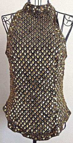 Mark & John by Gopal 100% Silk Sequin Beaded Top Black Gold Lined Size M  #MarkJohnbyGopal #SequinTop