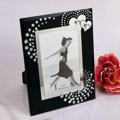 """Heartfelt Memories"" Black Glass Picture Frame"