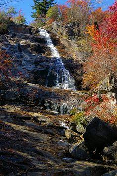 Upper Falls at Graveyard Fields Hike & Waterfalls, Blue Ridge Parkway, North Carolina