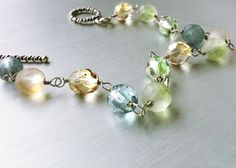 Sea Glass Bracelet. The Mermaid's Bounty. With Bali Sterling Silver Toggle Clasp. Blue, Green, & Gold Czech Glass