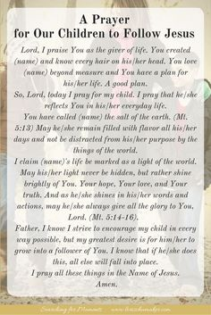 If our children follow Jesus, everything else will fall into place. He will give them purpose and He will take all they do, successes and failures, and make a good come out of them. If you want your children to follow Jesus, you need to pray. This prayer is a place you can start. A Prayer for Our Children to Follow Jesus - #MomentsofHope - Lori Schumaker