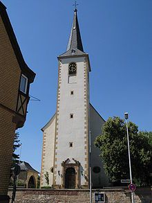 Vintage ebersheim germany St Laurentius in Ebersheim Germany with a bell by Konrad Gobel