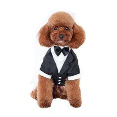 Keysui Black Dog Tuxedo Suit Puppy Wedding Clothes Coat Doggie Costume Medium Size