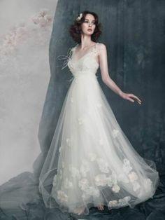 Love the bottom...Beautiful Fairy Flowers Skirt with Feathers Cusom Bridal Wedding Dress All Sizes | eBay