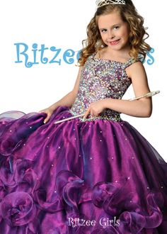 Purple Flower Girl Dresses For Weddings Organza Ruffles Bead Crystal Ball Gown Girl's Pageant Dresses Communion Dress