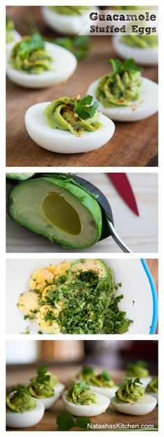Leftover Easter Eggs? Try these guacamole stuffed eggs. These deviled eggs are so easy, healthy and delicious