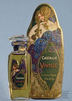Home Decor Objects : Art Nouveau : Castalie Viville perfume. Art Nouveau, Art Deco, Antique Perfume Bottles, Vintage Bottles, Vintage Labels, Makeup Vintage, Perfumes Vintage, Vintage Beauty, Vintage Art