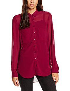 New Look Women's Popcorn Dip Hem Plain Long Sleeve Shirt…