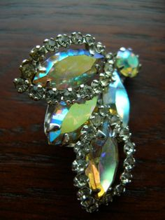 pretty pretty aurora borealis signed weiss earrings!