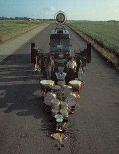 Pink Floyd, Ummagumma    this photograph by storm thorgers was used on the back cover of ummagumm ,pink floyd's epic 1969 double album.    it features roadies Alan stiles and peter watts  and the bands equipment laid out on biggin hill air port.