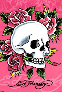 Ed Hardy Skulls & Roses for Him Christian Audigier for men Pictures Ed Hardy Tattoos, Christian Audigier, Day Of The Dead Mexico, Ed Hardy Designs, Los Mejores Tattoos, Don Ed Hardy, Pink Skull, Kunst Poster, Skulls And Roses