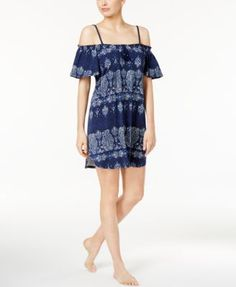 Lucky Brand Off-The-Shoulder Printed Knit Nightgown
