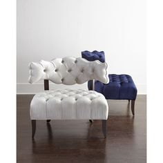 Haute House Pantages Chair (9,990 ILS) ❤ liked on Polyvore featuring home, furniture, chairs, navy, hand made furniture, handmade furniture, navy blue furniture, haute house furniture and haute house