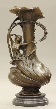 Art Nouveau Style Bronze Urn
