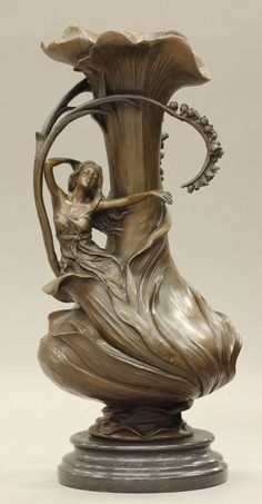 "Lot: 107: ART NOUVEAU STYLE BRONZE URN height- 15 1/4"" , Lot Number: 0107, Starting Bid: $200, Auctioneer: Robert Slawinski Auctioneers, Inc., Auction: CALIFORNIA ESTATES AUCTION - PART 1, Date: February 17th, 2013 CST"