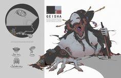 ArtStation - Feudal Japan-Geisha, Jiacheng Bao by magicalcrayons Fantasy Character Design, Character Design Inspiration, Character Concept, Character Art, Monster Concept Art, Monster Art, Creature Concept Art, Creature Design, Arte Horror