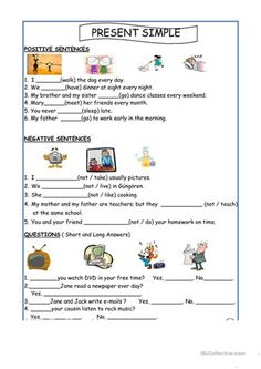 Simple Present Tense - English ESL Worksheets for distance learning and physical classrooms English Lessons For Kids, English Worksheets For Kids, Kids English, Learn English, Kids Worksheets, English Activities For Kids, Grammar Activities, Grammar Lessons, Present Simple Anglais
