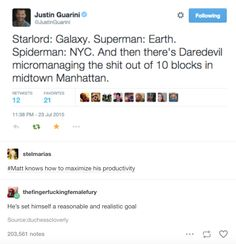 """""""Superman: Earth. Spider-man: NYC. And then there's Daredevil micromanaging the shit out of 10 blocks in midtown Manhattan."""""""