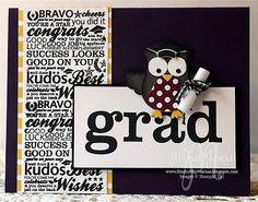 Grad Owl Builder Punch CARD by, Marian Garcia, StudioMbyMarian