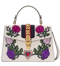 b5ad4c1bc2d Gucci Sylvie Medium Floral Embroidered Leather Top-Handle Satchel Bag White   NMV3PKZ  -