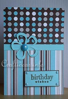 dots and stripes in coordinating papers, band, flower and sentiment in solid. cute!