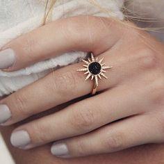Gemstone Starburst Ring - Black Druzy