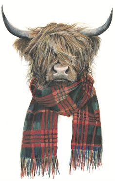Highland Hipster (Giclée Print of Original Artwork) The print is sold unmounted. Highland Cow Painting, Highland Cow Art, Scottish Highland Cow, Highland Cattle, Animal Paintings, Animal Drawings, Christmas Paintings, Christmas Art, Cow Illustration