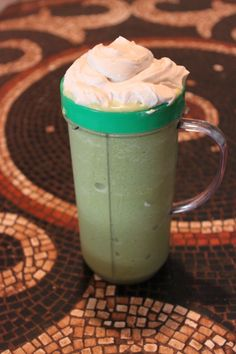 MOCAFE Green Tea Matcha Coconut Frappe topped with coconut whipped cream