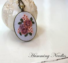 Ribbon embroidery, Humming Needles, necklace