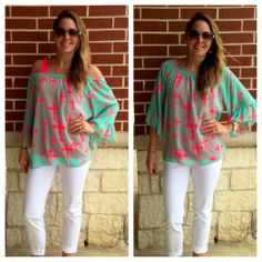 OFF-THE-SHOULDER TRENDY CROSSES TOP!!!! This top was sooooo popular the first time around that we brought it back in new bold colors!!!! Szs: S-L; $44