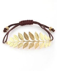 i really like corded braceletes like this gold laurel bracelet.  i enjoy that the leaf is large enough to actually see, making it pop! #luluslove #teal