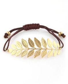 gold leaf bracelet.