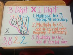 2 Digit x 1 Digit Multiplication For the past couple of weeks we have been learning multiple digit multiplication. First, students learned . Multiplication Anchor Charts, Multi Digit Multiplication, Math Charts, Math Anchor Charts, Math Resources, Math Activities, Math Strategies, Math Worksheets, Fifth Grade Math