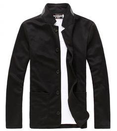 Stand Collar Long Sleeve Men Black Cotton Suit M/L/XL/XXL @X131003b