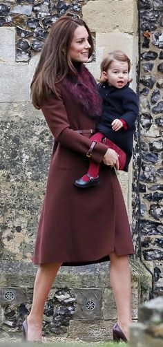HRH The Duchess of Cambridge with her daughter Charlotte on Christmas day 2016