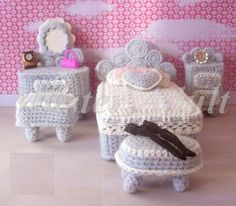 Rare Crochet Wool Bed Room Set 7 pcs for Kelly of Barbie Handmade Miniature 1:12