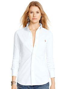 Knit Cotton Oxford Shirt - Polo Ralph Lauren Long-Sleeve - RalphLauren.com