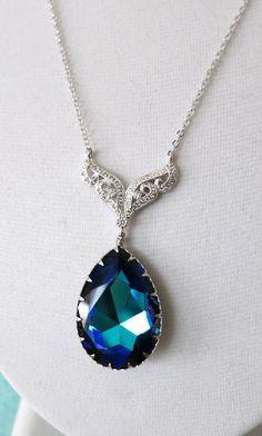 Swarovski Heliotrope Crystal Teardrop Necklace, Bridal Jewelry, Bridesmaid necklace, Wedding Jewelry, Bridal Accessories, www.glitzandlove.com