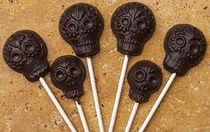 6 Fiesta Chocolate lollipops made with MexicanSugarSkull.com's Fiesta Lollipop mold