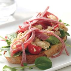 Rachael Ray - Salami, White Bean & Watercress crostini