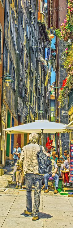 Walking the colourful and narrow streets from Porto harbour, Portugal. ......MaritaToftgard