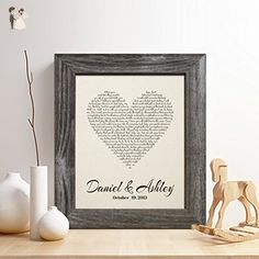 Personalized 2nd Cotton Anniversary Gift for Him or Her, First Dance Song Cotton Print, Wedding Vow Cotton Print, any Text, Gifts for Husband and Wife, 2 Years Together - Wedding gifts for the couple (*Amazon Partner-Link)