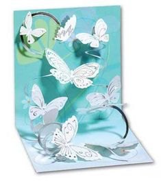 Spiral pop up example. swarm of butterflies on a coiled path.beautiful pop-up card! by fay Pop Up Greeting Cards, Pop Up Box Cards, Greeting Cards Handmade, Kirigami, Cute Cards, Diy Cards, Shaped Cards, Fancy Fold Cards, Butterfly Cards