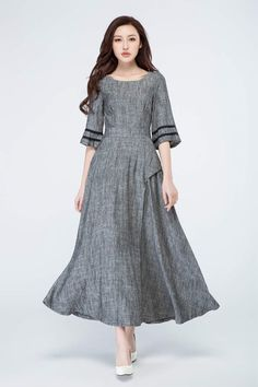 Grey dress, linen dress, spring dress, prom dress, party dress, evening dress, boho dress, women's dresses, maxi dress, custom made 1698