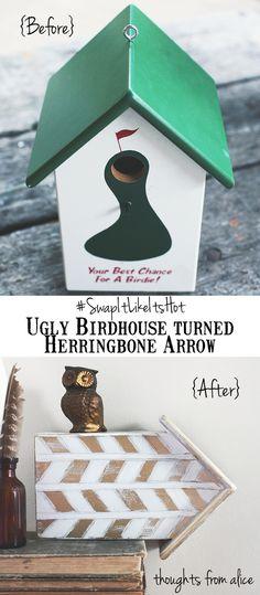 Half a birdhouse turned arrow shelf/art Thoughts from Alice: Herringbone Arrow Mini Wall Shelf {Thrift Store Makeover Diy Wall Shelves, Shelf, Arrow Decor, Alice, Trash To Treasure, Crafty Craft, Craft Projects, House Projects, Bird Houses