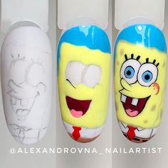 Cartoon Nail Designs, Nail Art Designs Videos, Cute Nail Art Designs, Creative Nail Designs, Nail Art Videos, Halloween Nail Designs, Disney Acrylic Nails, Best Acrylic Nails, Daisy Nail Art