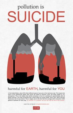 A poster series on the harmful effects of air, land, and water pollution.