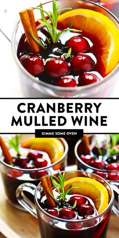 This Cranberry Mulled Wine recipe is quick and easy to make, so festive and flavorful, and perfect for holiday entertaining! Margarita Recipes, Cocktail Recipes, Wine Recipes, Top Recipes, Recipies, Thanksgiving Recipes, Thanksgiving Holiday, Christmas Recipes, Christmas Baking
