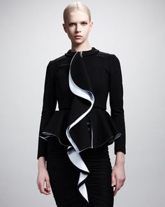 Givenchy Ruffle-Front Peplum Zip Jacket and Ruffle-Front Jersey Dress - Bergdorf Goodman