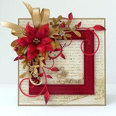 card christmas poinsettia flower mistletoe holly flourish kartkulec, Christmas card